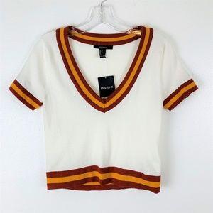 Forever 21 Knit V-neck Crop Varsity Sweater M NWT